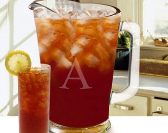Personalized Glass Drink Pitcher - Iced Tea - Lemonade - Beer