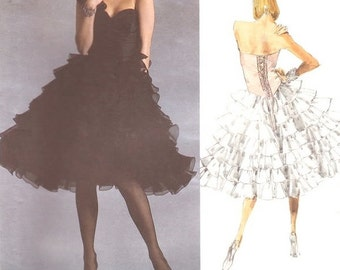 VOGUE 1936 Bellville Sassoon Strapless Ruffles Gown Size 10 Sewing Pattern ~ Vintage ©1987 Uncut RARE