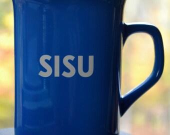 "Mug for Coffee or Tea - Engraved Ceramic - ""Sisu"""