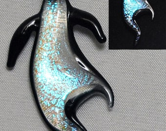 Abstract Dancing Penguin Dichroic Glass Pendant #111