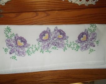 Cross-stitched pillowcase sets