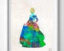 Cinderella Print, Disney Print, Type 1, Watercolor Art, Disney Princess, Baby Room, Poster, Illustration, Wall Decor, Valentines Day Gift
