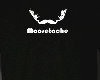 MOOSETACHE Shirt, Mens Funny Shirt, Moose Shirt, Mustache Tshirt, Beard Shirt