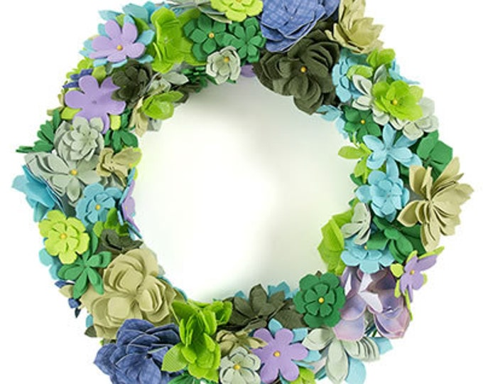 Paper Flower Wreath Craft Kit, Succulent Wreath Kit, Mothers Gift Christmas, Gift under 20 Dollars, Mothers Gift from Daughter