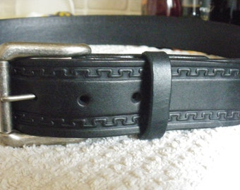 """Quality embossed hand made 1 1/2"""" inch wide leather belts"""