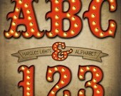 Vintage Marquee Lights Alphabet Clipart, Old Theater Lights Alphabet, Printable Letters + Numbers + Punctuation, Hollywood Lights Alphabet