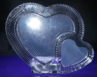 Gorgeous Mikasa Double Hearts Crystal Glass Double Picture Frame