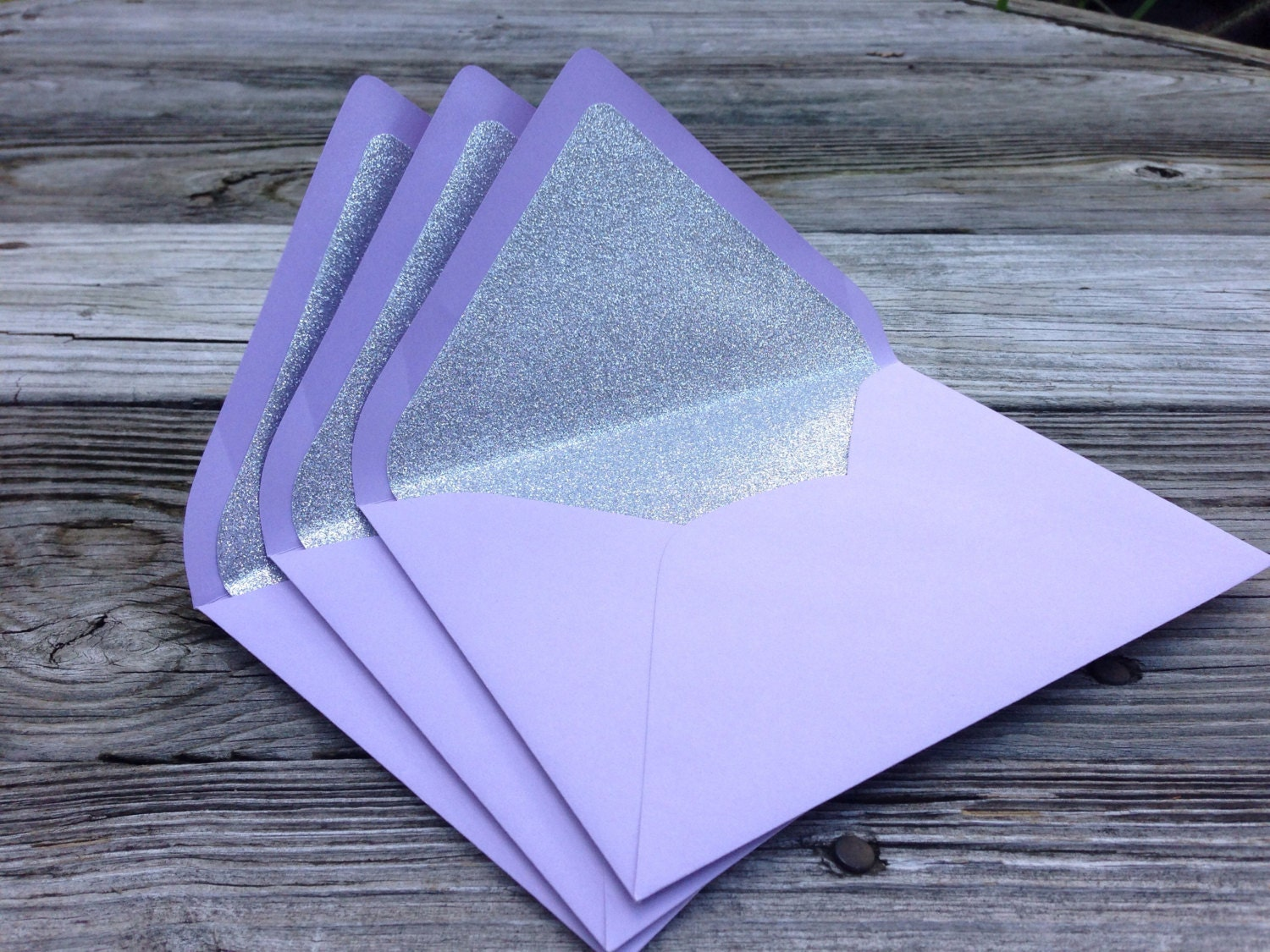 a7 5x7 purple and silver glitter lined envelopes by