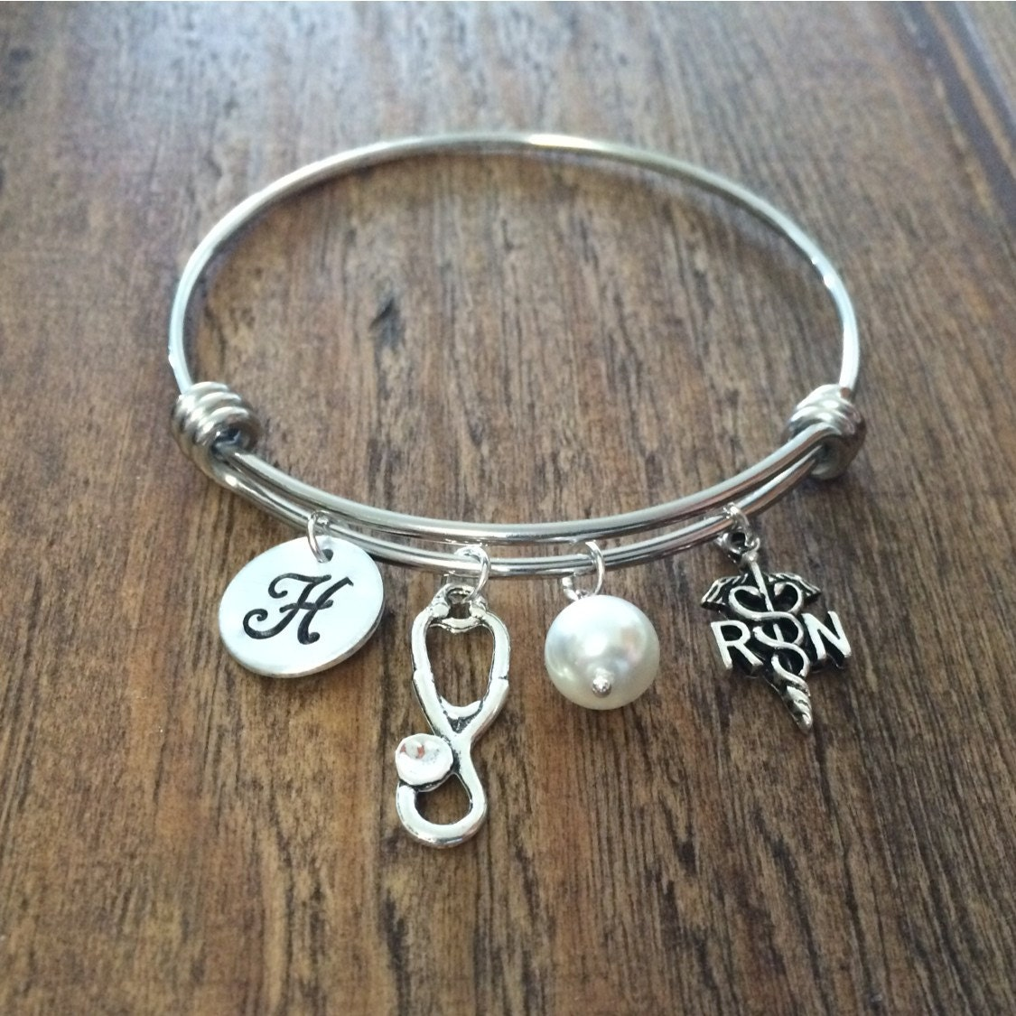 Initial Charms For Bracelets: RN Charm Bangle Bracelet Hand Stamped Initial Stethoscope