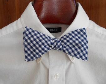 Bow Tie - Navy Gingham - Men's self tie