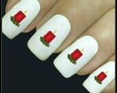 Christmas Nail Decal Nail Art 20 Water Slide Decals Nail Stocking Stuffer Fingernail Decals Nail Tattoos Nail Transfers