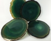 Vintage Agate Coasters Set of 4, Dyed Green Natural Agate (EA2481) Polished stone slices quartz gem grounding crystal coffee decorator item