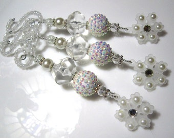 Beaded Christmas Snowflake Ornaments with Winter White Bling, Ice Crystal Beads, Pearls and Glass Beads - 3 Elegant Christmas Decorations