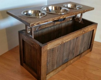 Raised dog feeder with storage, 3 bowl dog feeder, pet feeder, western feeder, elevated feeder, three bowl, dog feeder, Rustic dog feeder