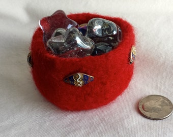 Small Red Felted Bowl with Recycled Metal Beads