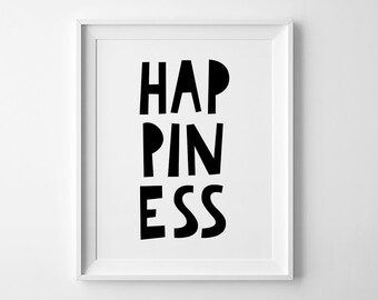 Playroom decor, Black and white print, nursery art, happiness poster, minimalist printable wall art quote, kids room, nursery decor