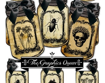 Vintage Halloween Mason Jar Labels Tags Digital Collage Goth Images Apothecary Jar Steampunk Images Instant Digital Download