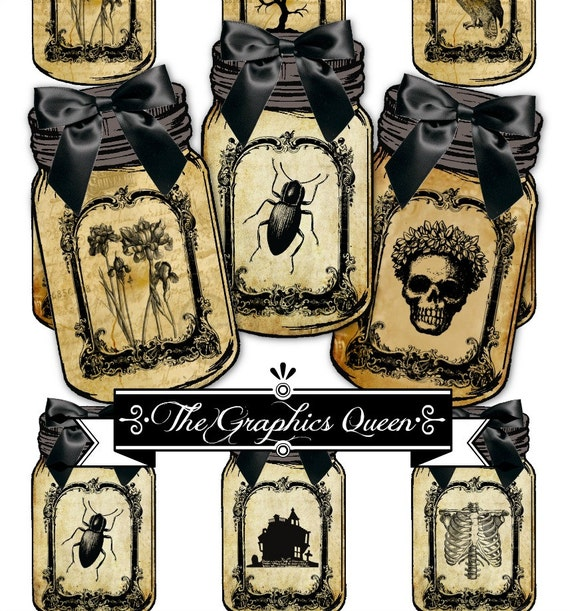 Printable Vintage Halloween Mason Jar Labels