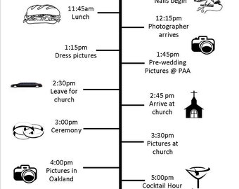 Customizable Wedding Timeline for Bridal Party (Electronic or Printed)
