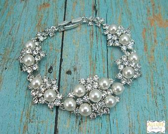 Bridal bracelet, ivory wedding bracelet, rhinestone pearl bracelet, crystal ivory white pearl bracelet, bridal jewelry, wedding 208025827