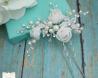 WEDDING HAIR PIN, bridal hair accessories, pearl flower rhinestone hairpin, bridal hair pearl, bridal hairpins, wedding hairpins, 205694255