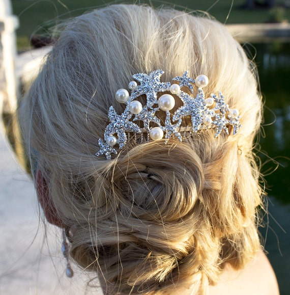 Starfish ivory pearl bridal hair by AllureWeddingJewelry ...