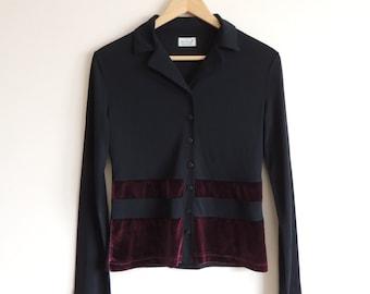 Vintage MISS H Boho Black blouse with Crimson velvet lines and buttons, size 36