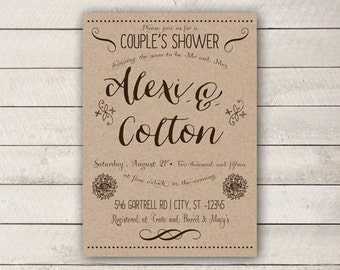 Handmade couples shower invitation etsy for Bathroom ideas for couples
