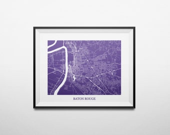 Baton Rouge, Louisiana LSU Louisiana State University Abstract Street Map Print