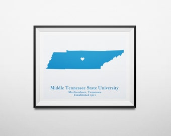 Middle Tennessee State University MTSU, Murfreesboro, Tennessee Map Print