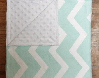 Aqua Chevron Flannel and Minky Baby Blanket
