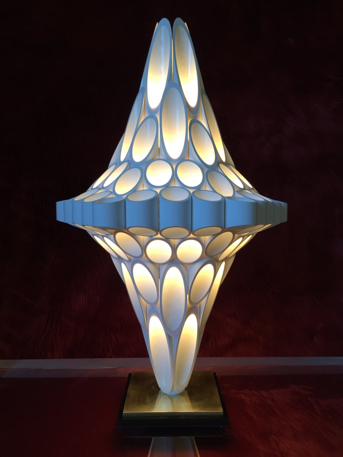 Diamond Honeycomb organic light. Rougier style lamp.