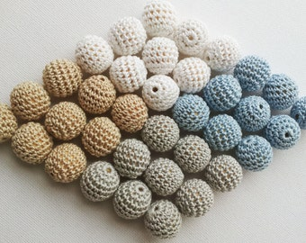 "Crochet beads 10 PCS 7/8"" 22 mm white tan beige pastel blue. Wooden crochet cotton beads Round beads Necklaces"