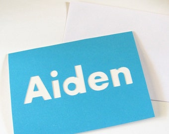 Aiden Card,  Personalized Name Card, Custom Name Birthday Card