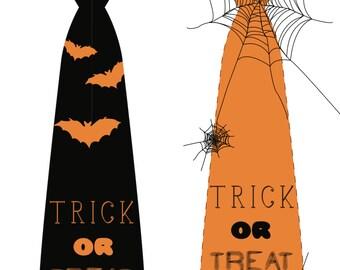 "Happy Halloween tie ""Trick or Treat"" - printable"