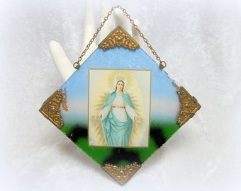 Virgin Mary Madonna Reverse Painted Wall Hanging - Czechoslovakia - Vintage 20s
