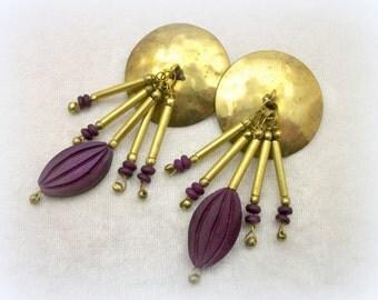 Vintage 80s Brass Disc Gypsy Boho Earrings - Oversized