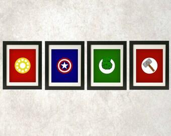 The Avengers Printables // Boys Wall Art // Superhero Decor // Superhero Logo Prints // The Avengers Superhero Prints // Set of Four