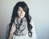 Lightweight Cotton Infinity Scarf- Two Toned, Tan, Minimalist, Fall Accessories, Circle, Trendy, Gift For Her