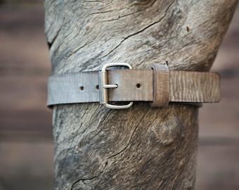 Children's Belt - Gray Leather Textured Leather Belt with Gunmetal Roller Buckle (Children's)