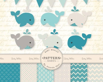 Premium Blue Baby Whales Clip Art & Digital Paper Set - Whale Clipart, Blue Whale Digital Paper, Baby Whales, Vintage Whales, Baby Shower
