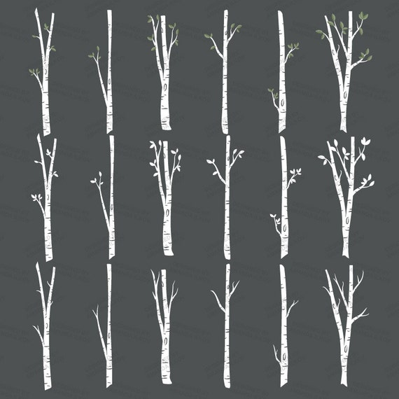 Premium Birch Tree Clipart & Vector Set Birch Tree Clip Art