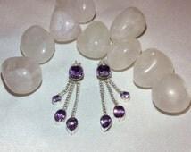 925 sterling silver amethyst earrings. Amethyst. Earrings. Studs. Jewellery. Jewelery. Sterling silver.  Gemstone. Ear studs. 925