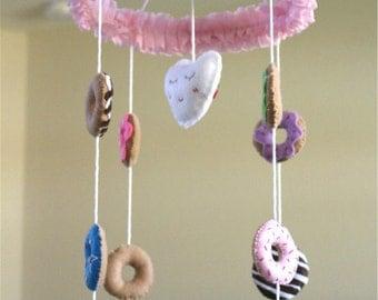 Donuts Baby Girl Crib Mobile, Felt Baby Mobile, Nursery Decoration