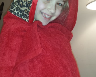 NEW ITEM~ Baby/Toddler/Kids Hooded Bath Towel Leopard with Red Towel