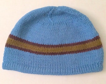 Hand-Knit Blue, Single-Striped Adult/Teen Alpaca Beanie Hat