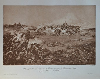 The War in the Vendée . Antique lithograph. 111 years old print. 11'7 x 8'2 inches.