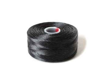 Black Superlon (S-Lon) beading thread, S-Lon Tex45 size D, 1x bobbin, stringing material for jewelry making, bead supplies UK