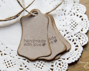 "20 little kraft tags ""handemade with love"""
