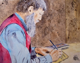 """watercolor painting,scenic and landscape, painting of scholar,8.25"""" x 11"""", book and pen, writing, beard, man with beard, man with vest"""